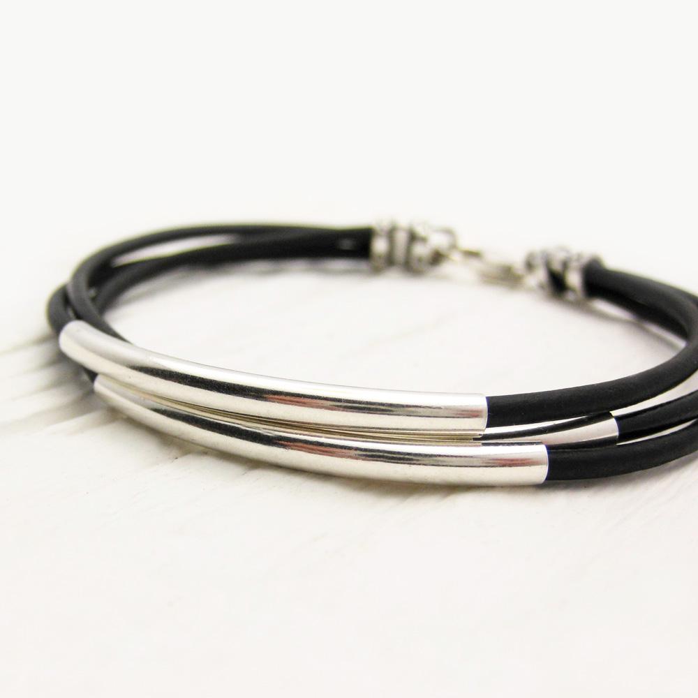 Byjodi Jewelry Black Leather Sterling Silver Bracelet