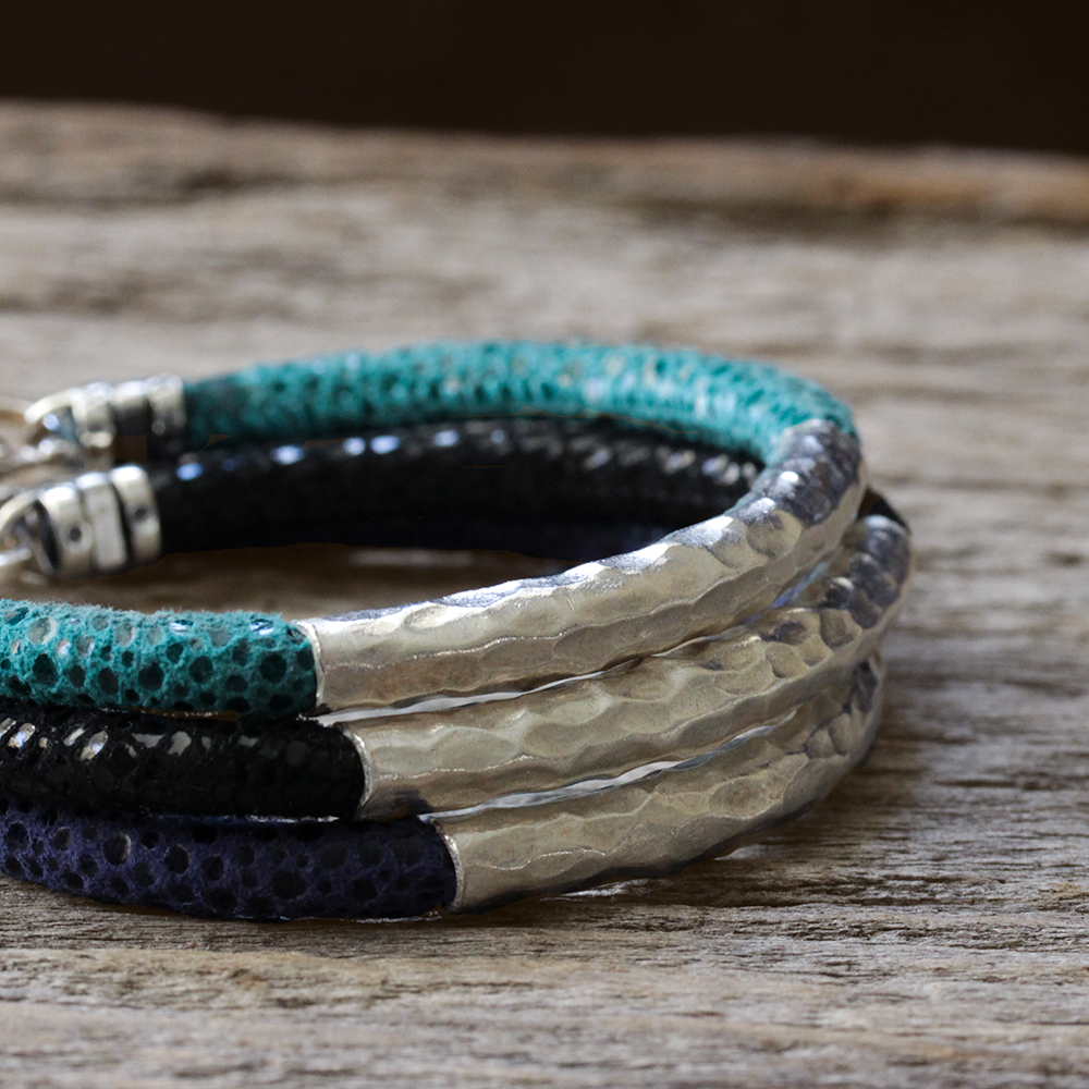 Hammered Silver Leather Bangle Bracelet Blue