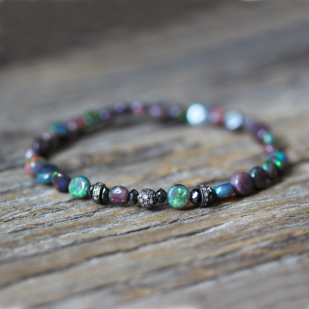 Ethiopian Opal Black Diamond Pave Delicate Stacking Bracelet