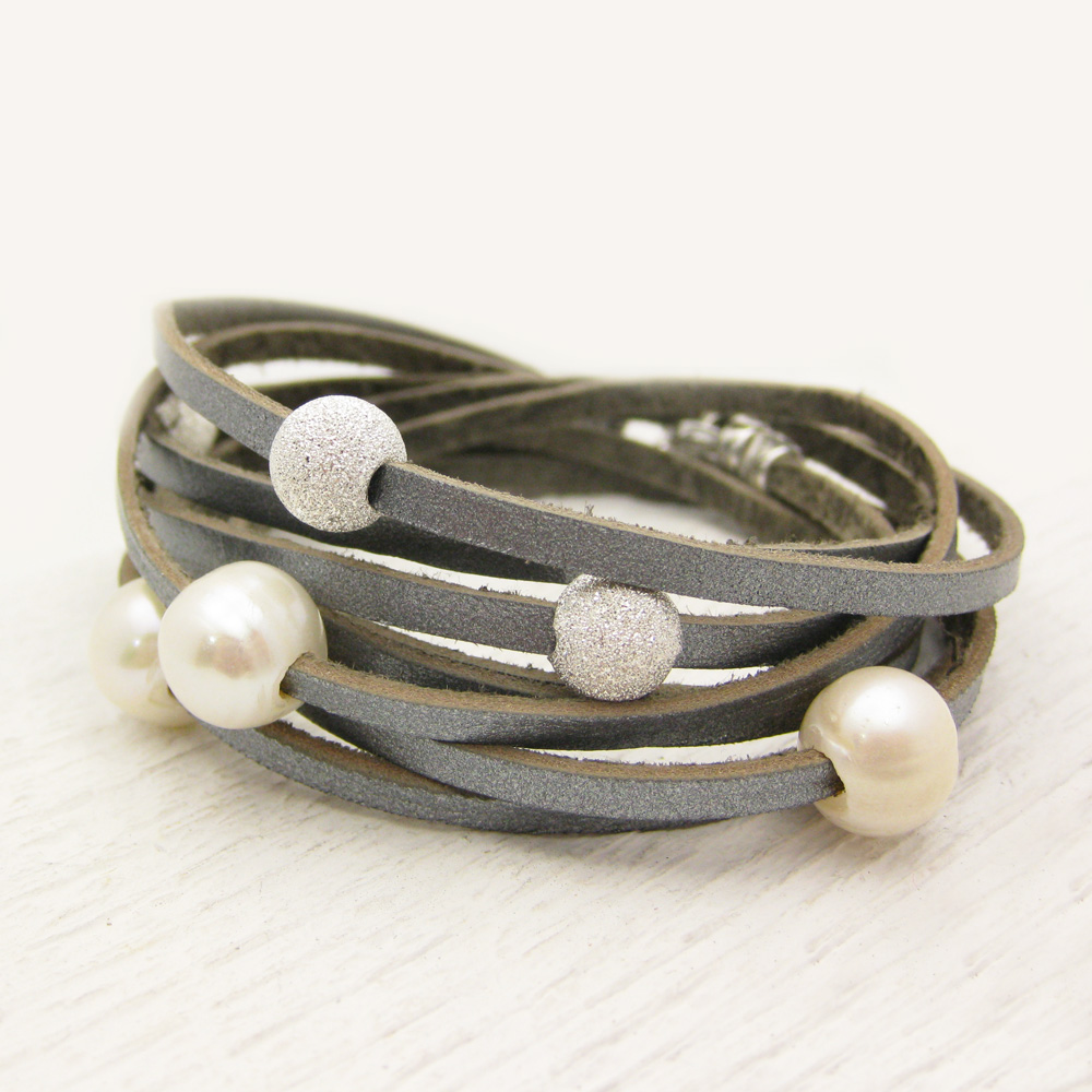 Silver Leather Wrap Bracelet with Sterling and Pearl