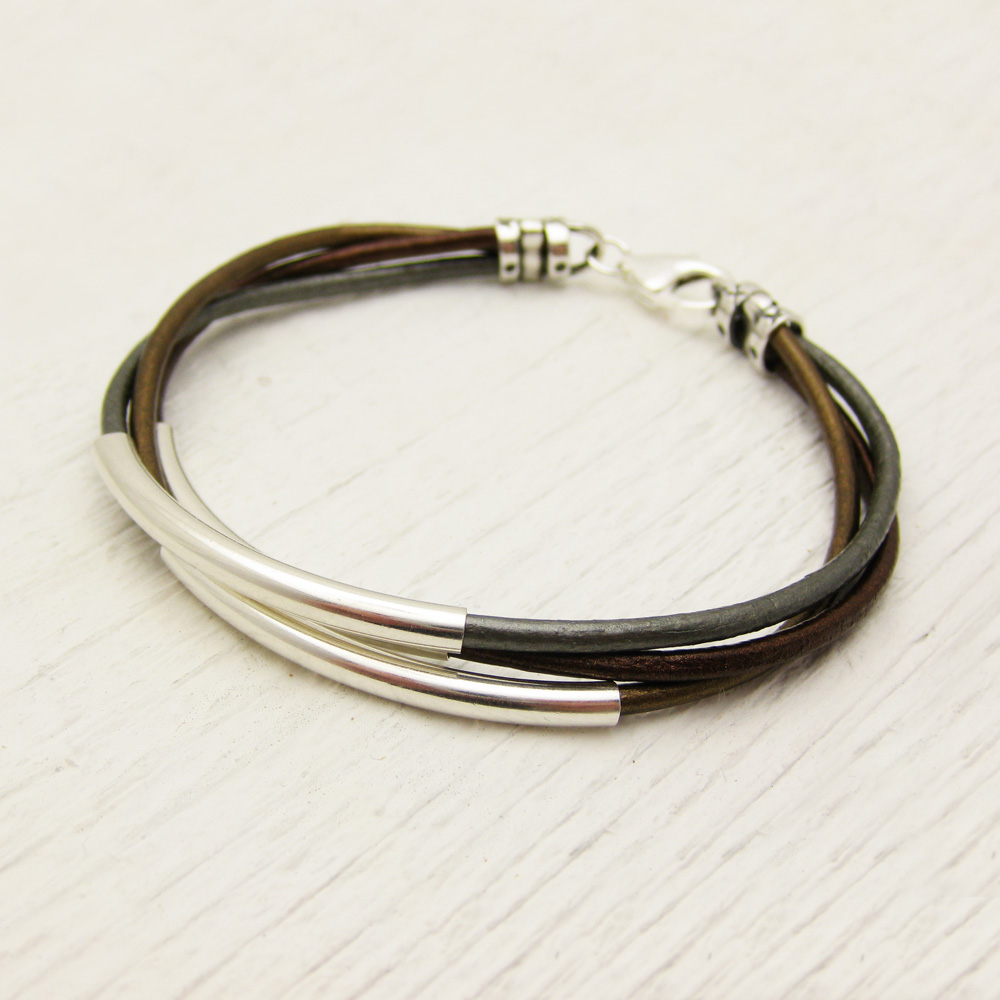 Metallic Leather & Sterling Silver Bracelet