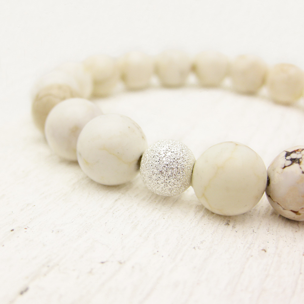 White Turquoise Bead Bracelet w/ Sterling Silver Stardust Ball