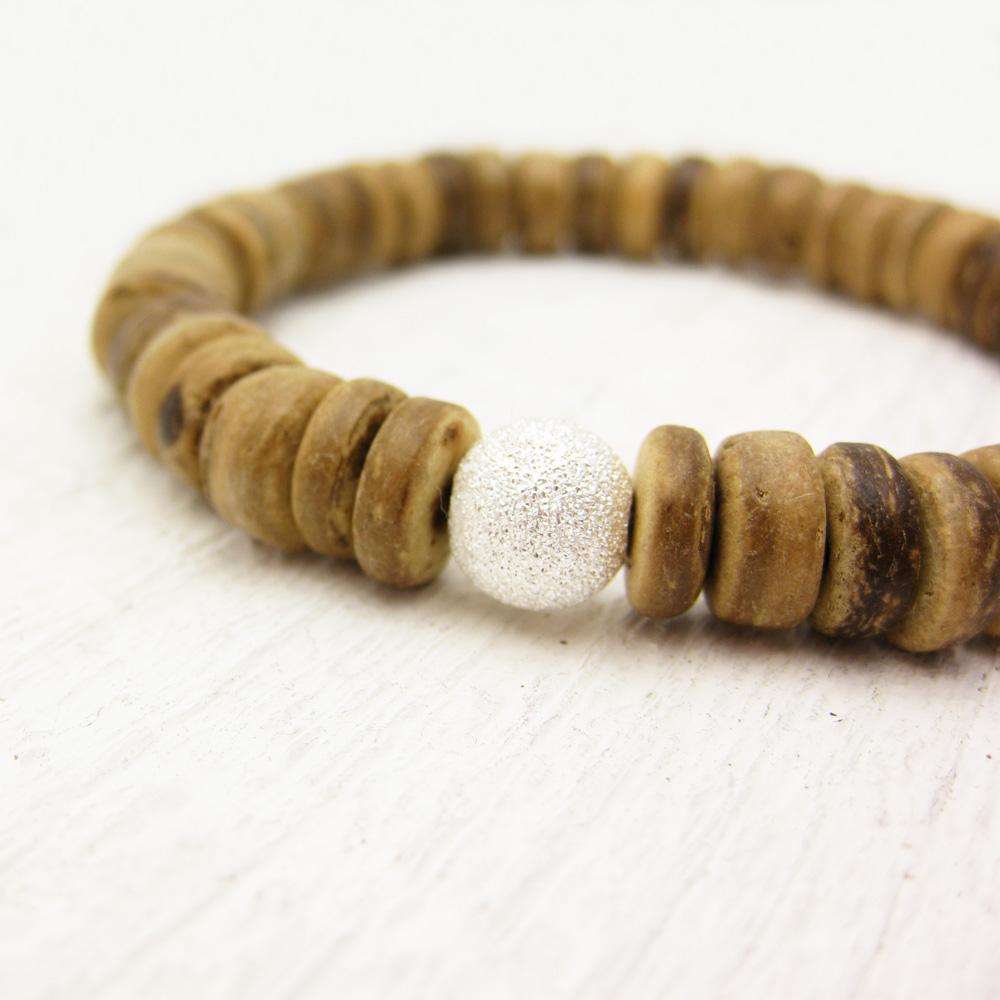 Coconut Wood Heishi Bead Bracelet w/ Sterling Stardust Ball
