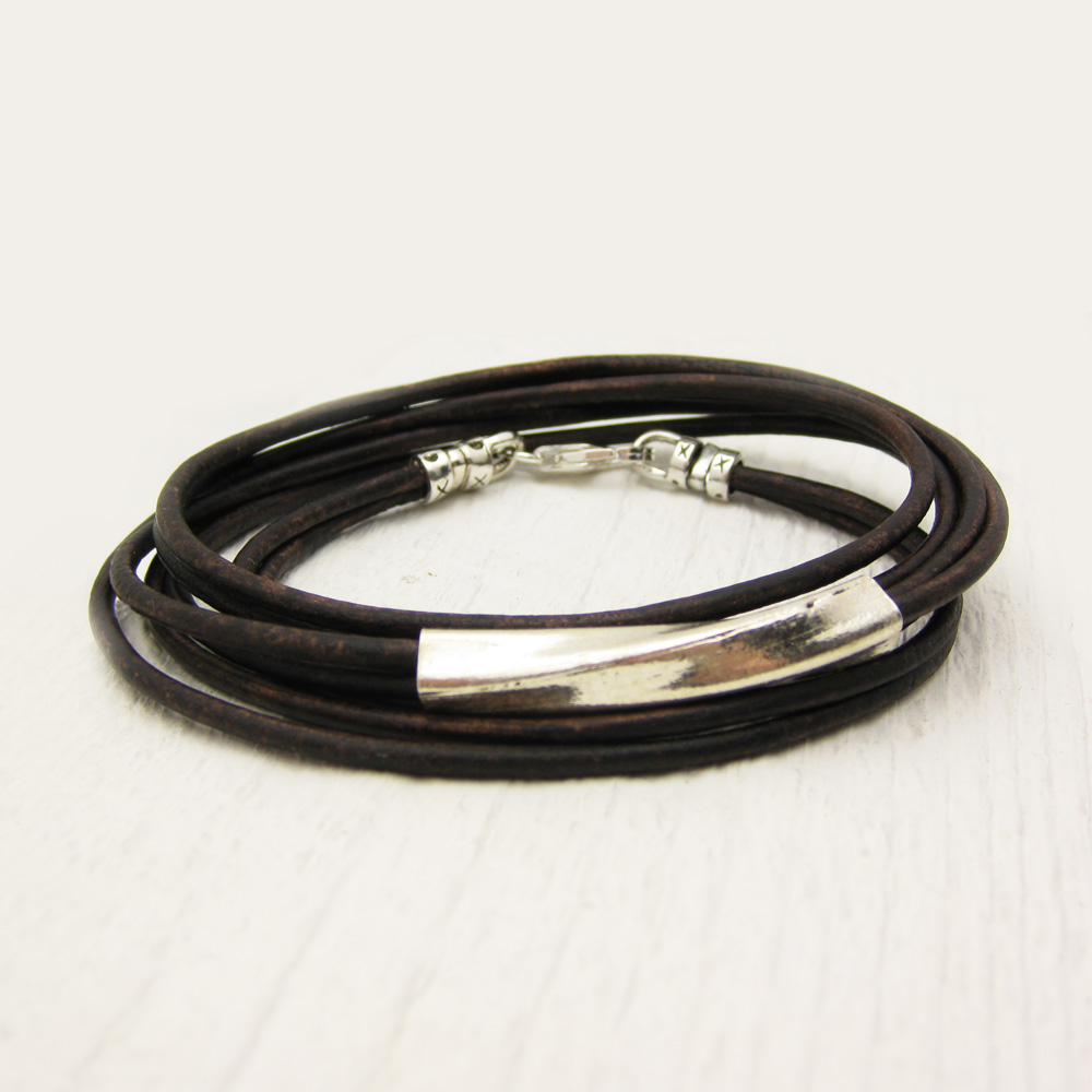 Brown Leather & Sterling Silver Boho Wrap Bracelet
