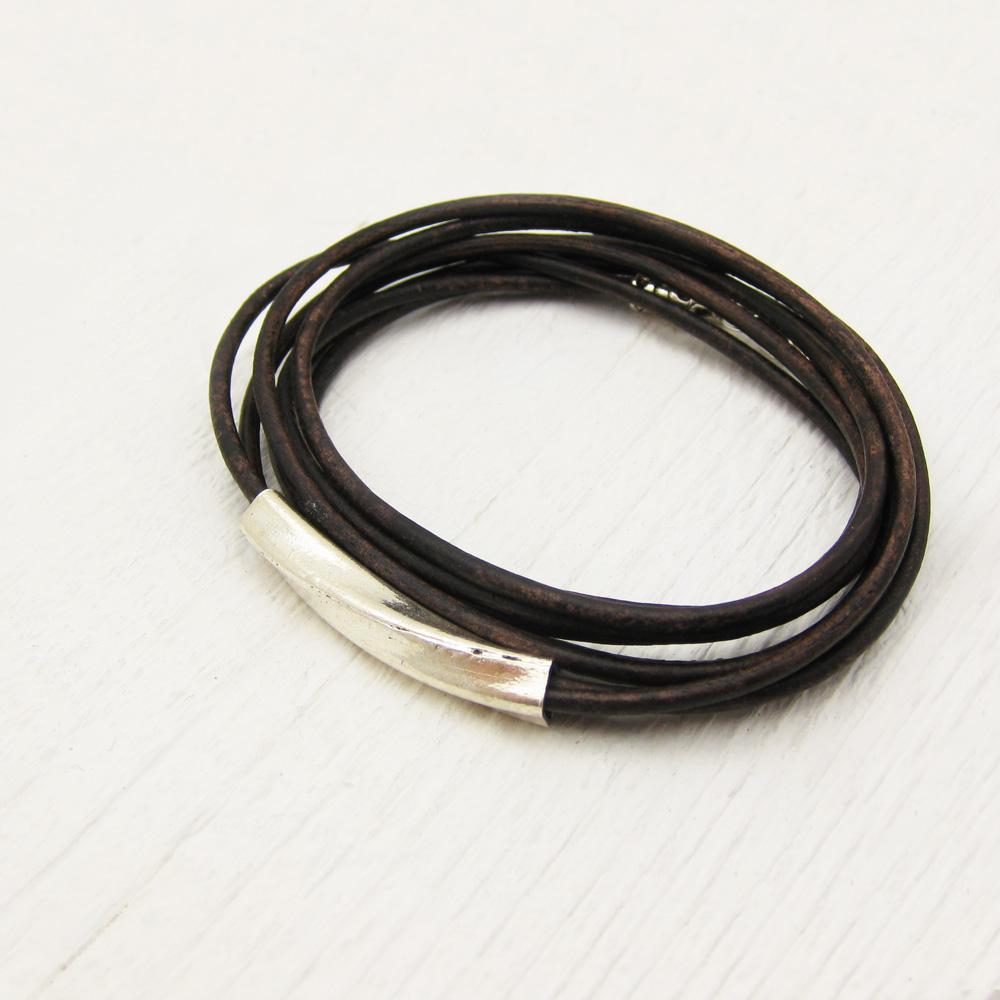 Brown Leather & Sterling Silver Boho Wrap Bracelet