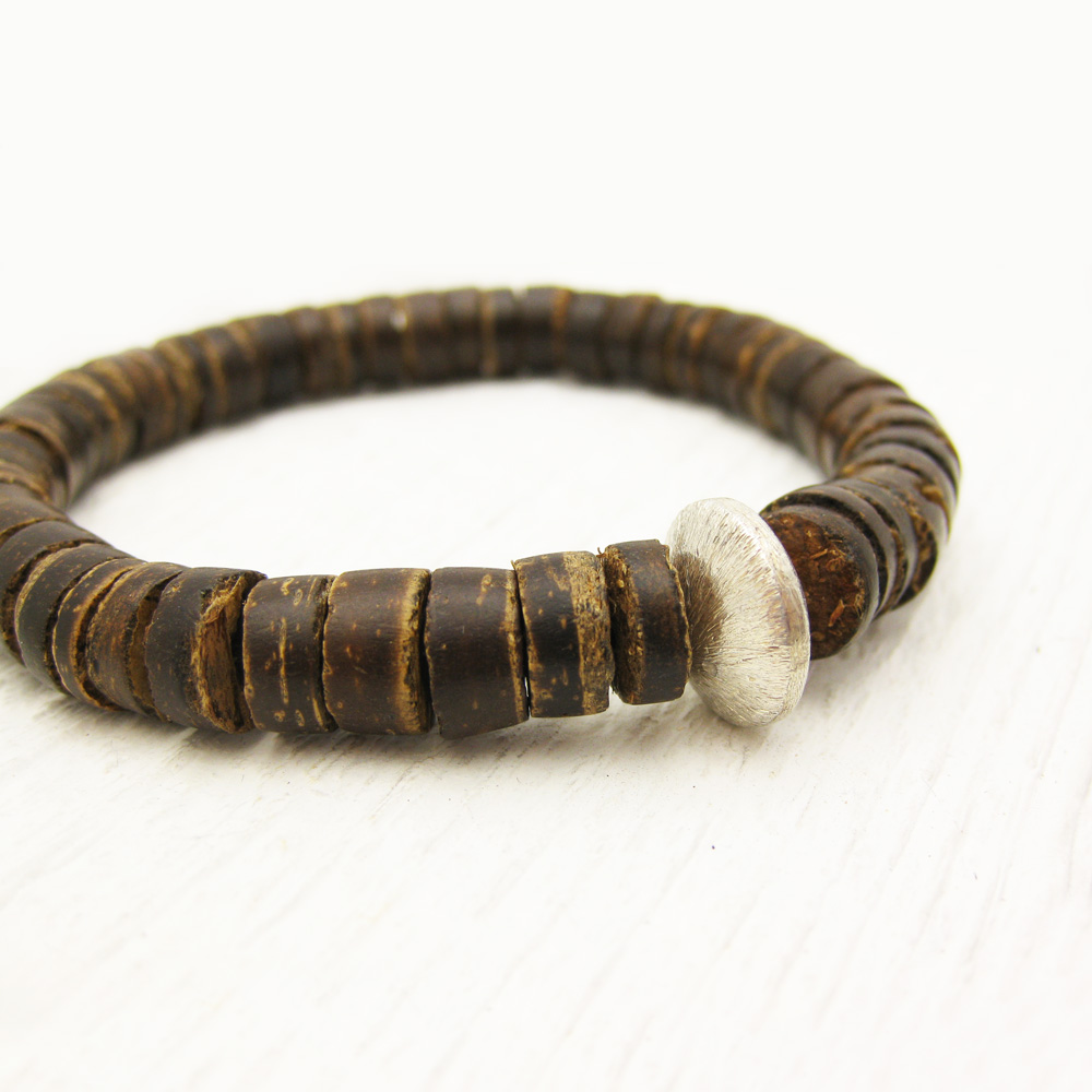 Men's Coconut Wood Bracelet with Sterling Silver