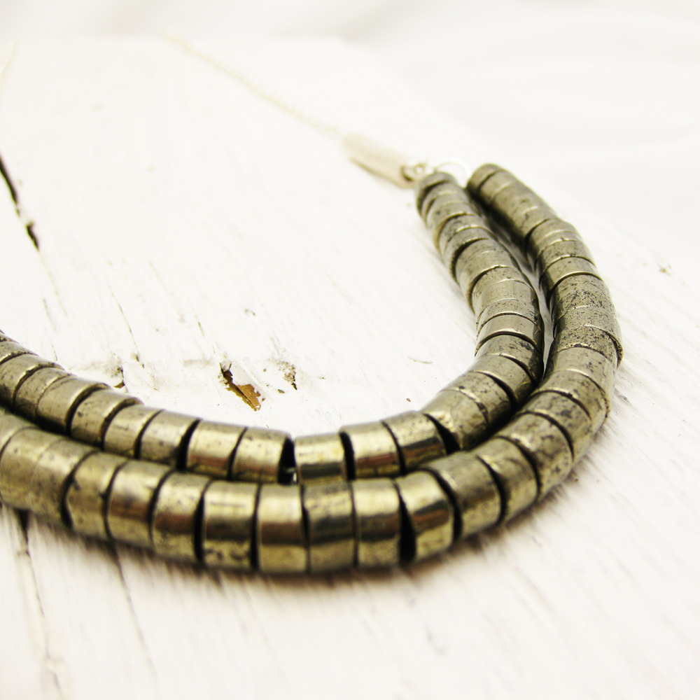 Brazilian Pyrite Statement Necklace on Sterling Silver