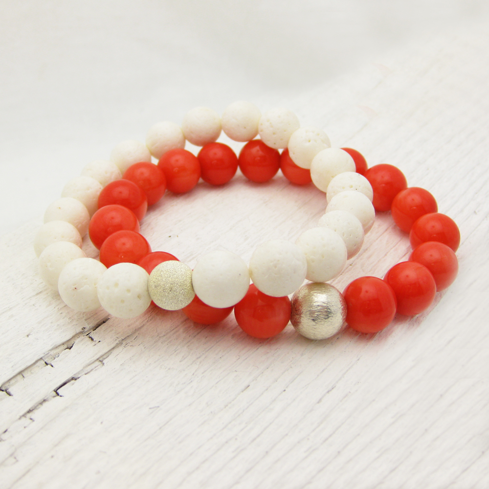White Coral Bead Bracelet with Sterling Stardust Ball