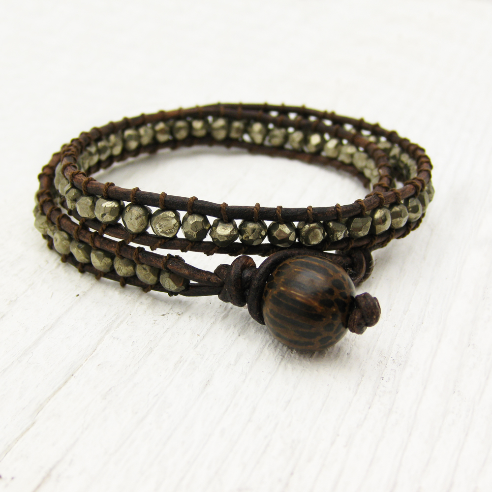 Pyrite Leather Wrap Bracelet with Coconut Wood and 100% Silk