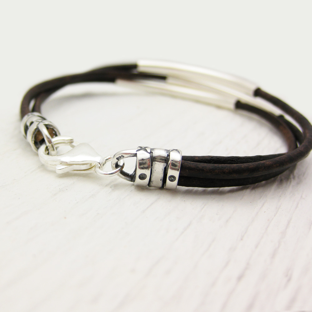 Antique Brown Leather & Sterling Silver Bracelet