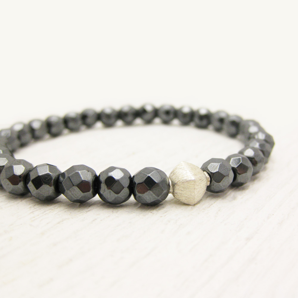 Silver Diamond Faceted Grey Hematite Bead Stacking Bracelet