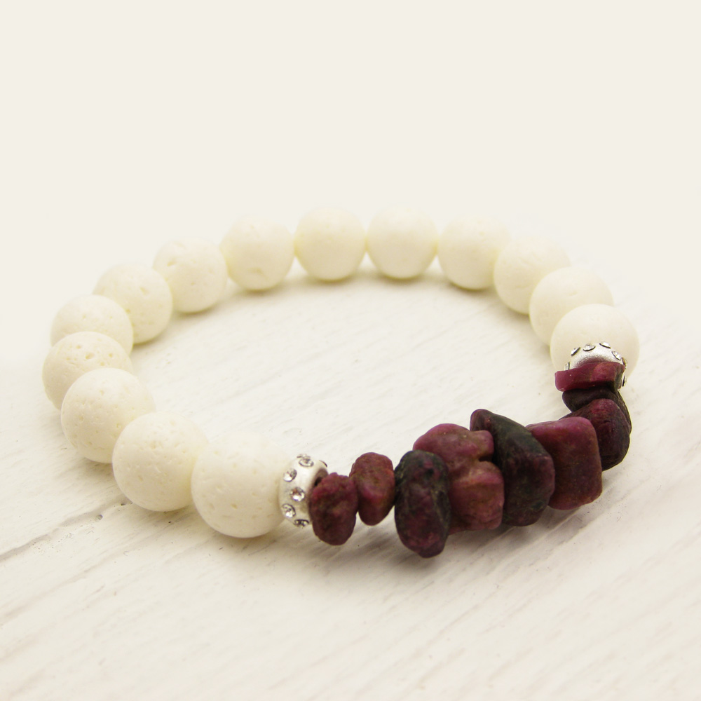Genuine Ruby Coral Stacking Bracelet