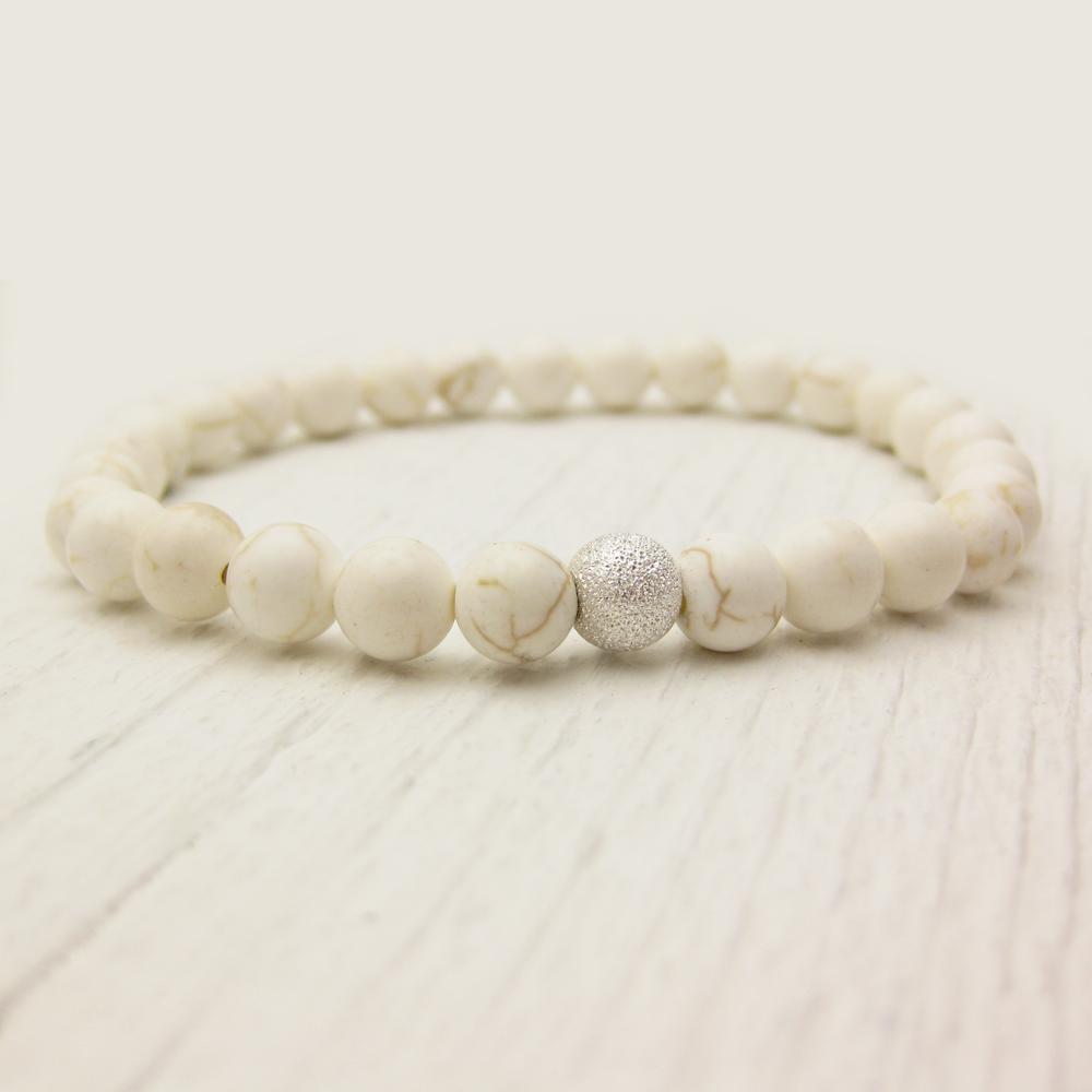 White Turquoise (Magnesite) Bracelet w/ Sterling Stardust Ball