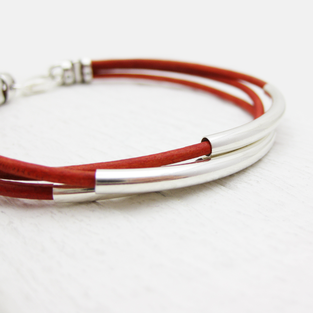 Red Leather Bracelet with Solid Sterling Silver Tubes