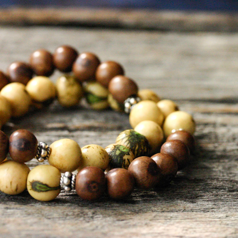 Yellow w/ Mocha Bar Acai Seed & Bali Sterling Bracelet