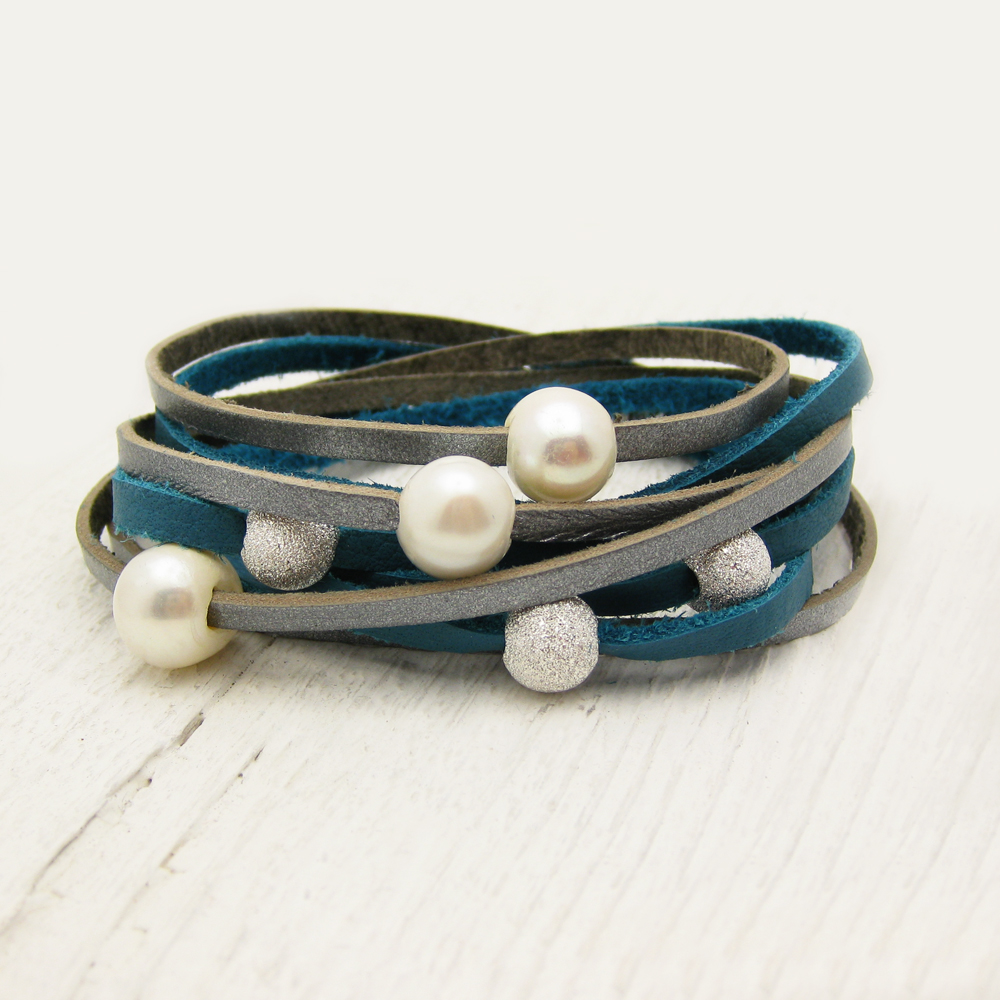 Blue Silver Pearl & Sterling Leather Wrap Bracelet