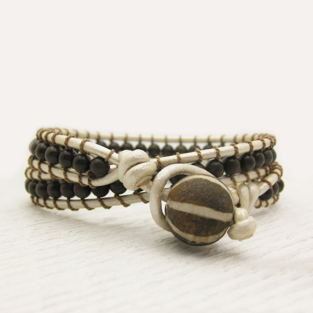 Pearl Leather Bronzite Wrap Bracelet