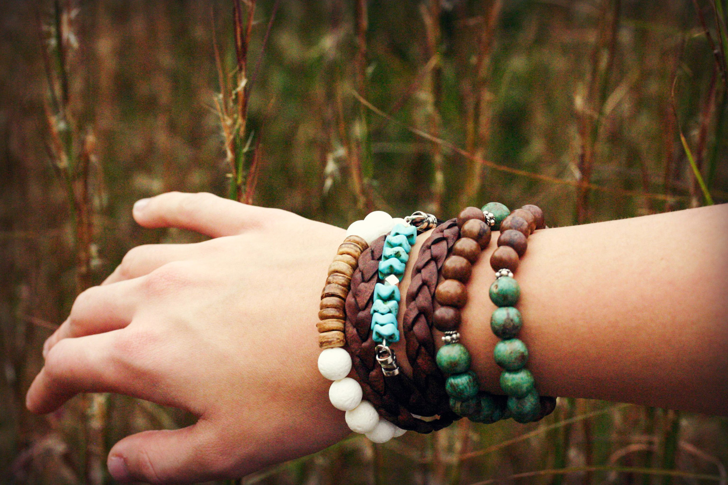 Turquoise Braided Leather Wrap Bracelet