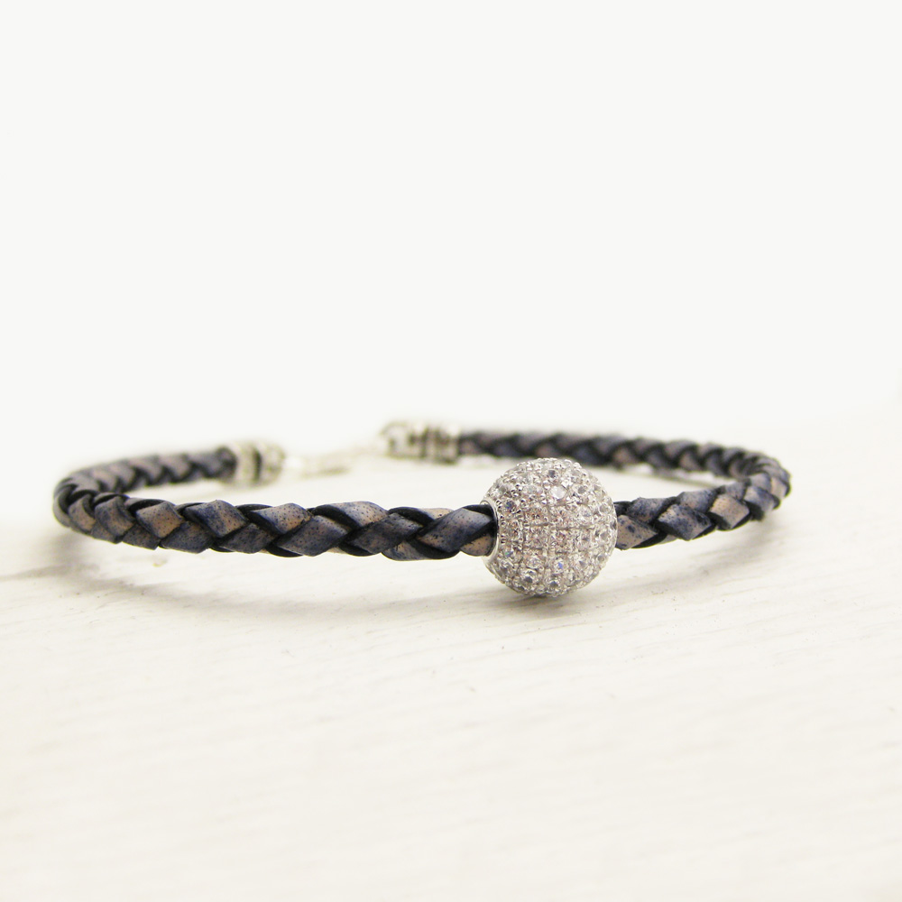 Silver Pave Blue Leather Bracelet