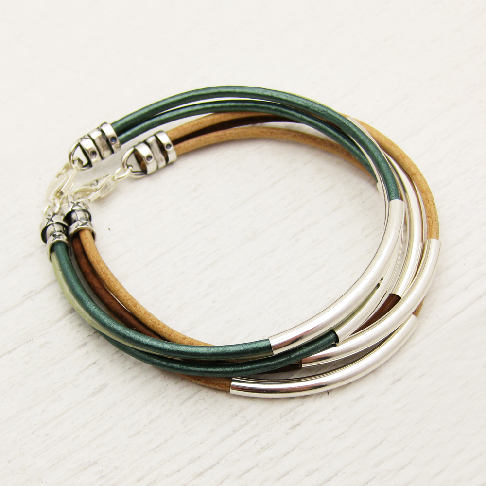 Aqua Teal Leather Bangle Bracelet