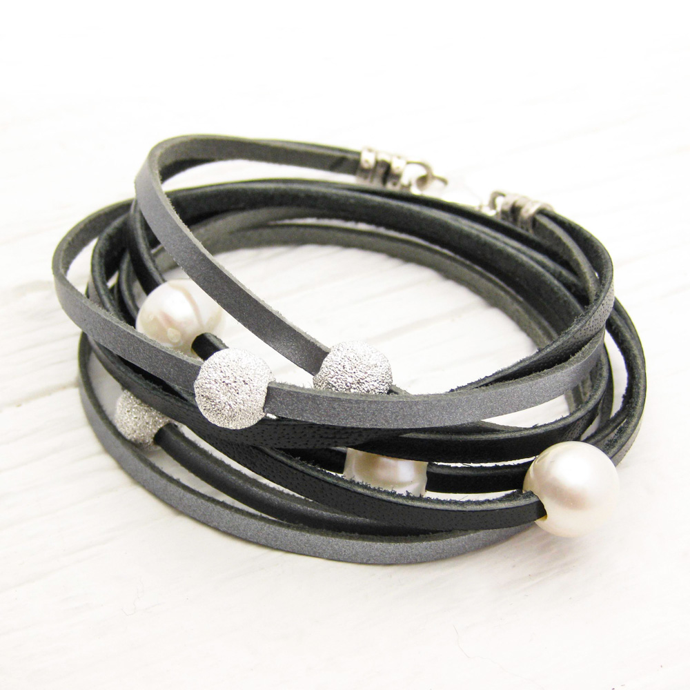 Black Silver Pearl Leather Wrap Bracelet