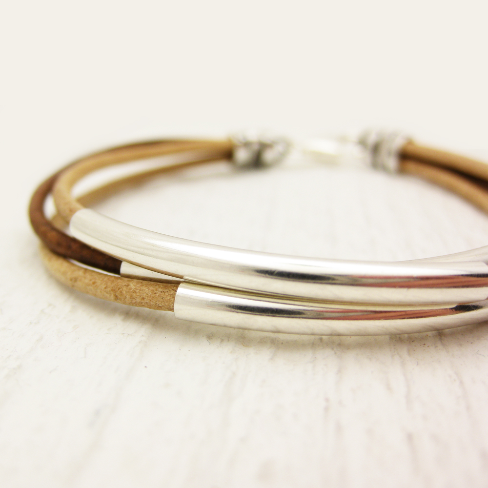 Natural Leather & Silver Bangle Bracelet