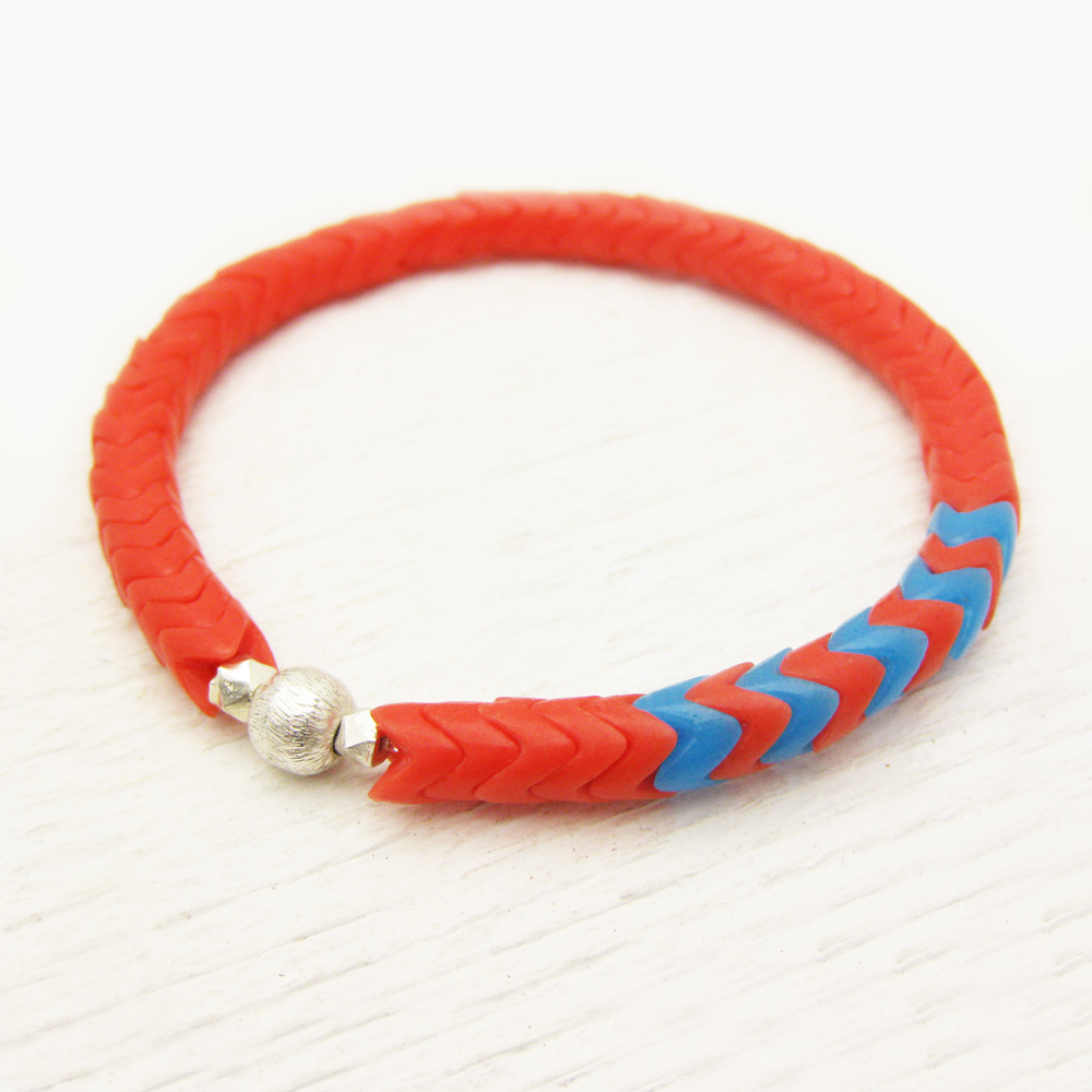 Orange Chevron Vintage African Trade Bracelet