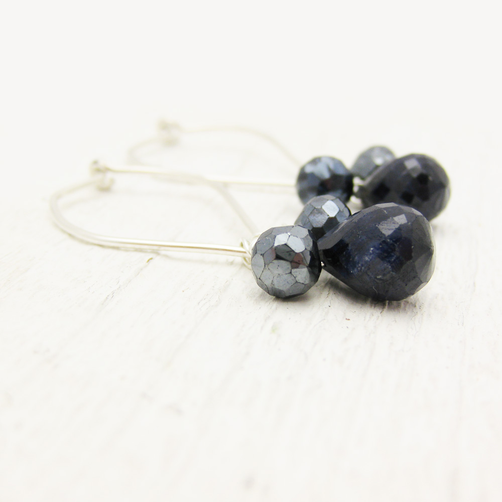 Sapphire and Spinel Petal Earrings with Argentium Silver