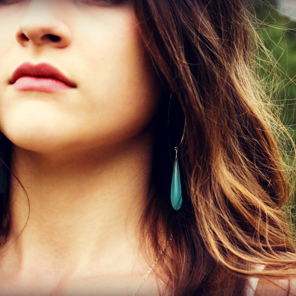 Blue Chalcedony Teardrop Hoop Earrings