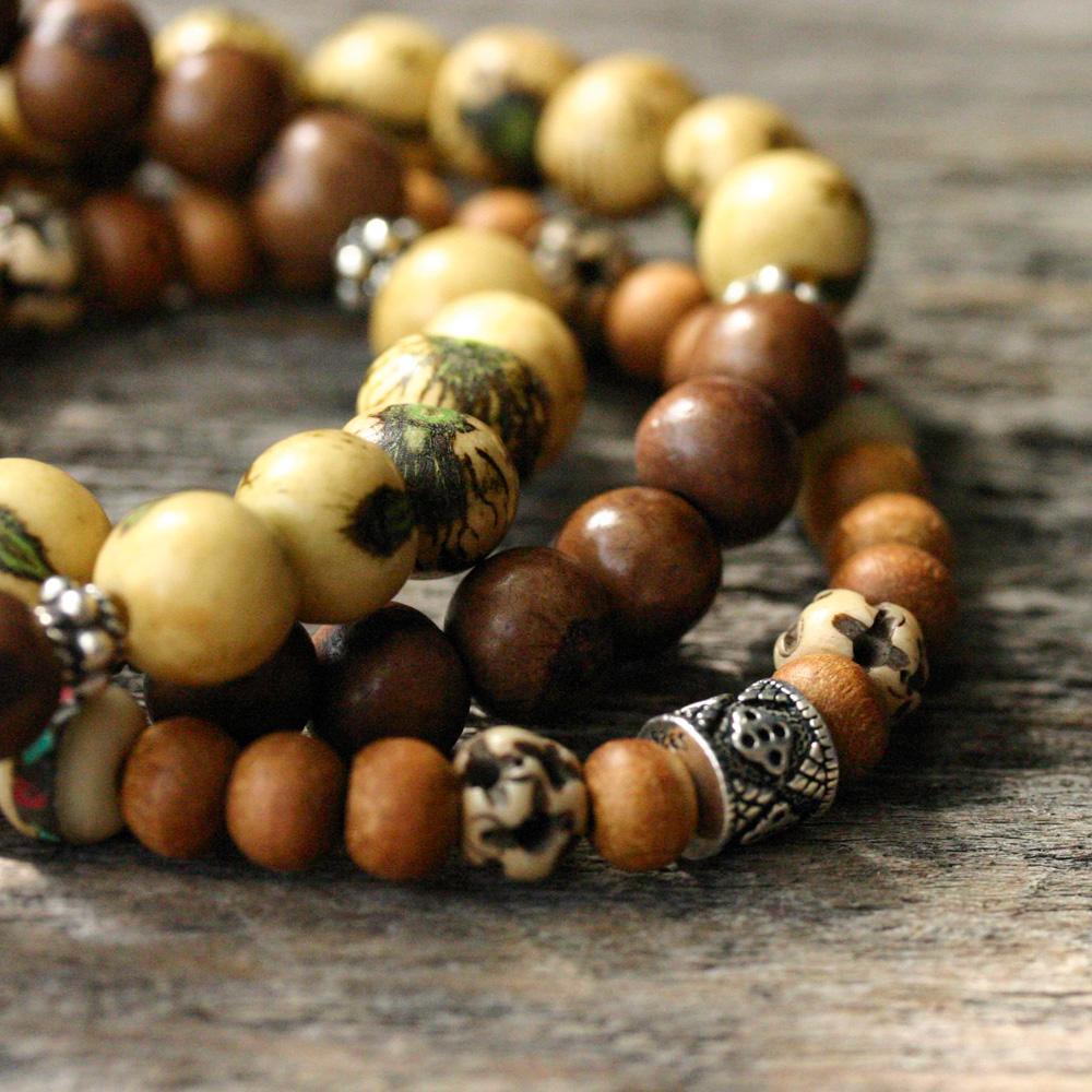 Yellow w/ Mocha Bar Acai Seed & Bali Sterling Bracelet