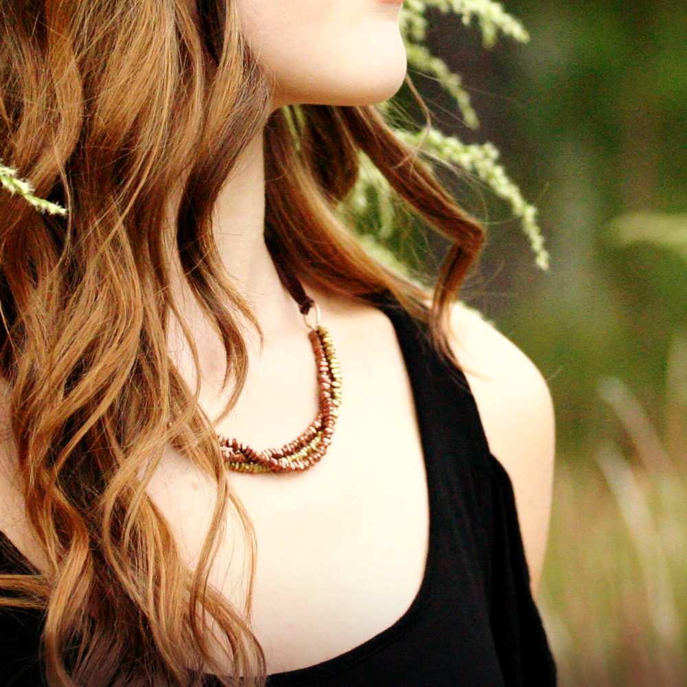 Metallic Leather Bib Necklace