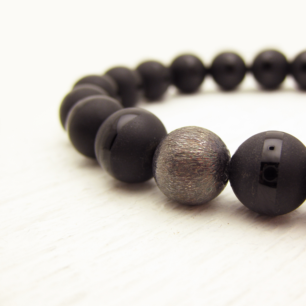 Black Onyx Men's Bracelet with Oxidized Sterling Silver