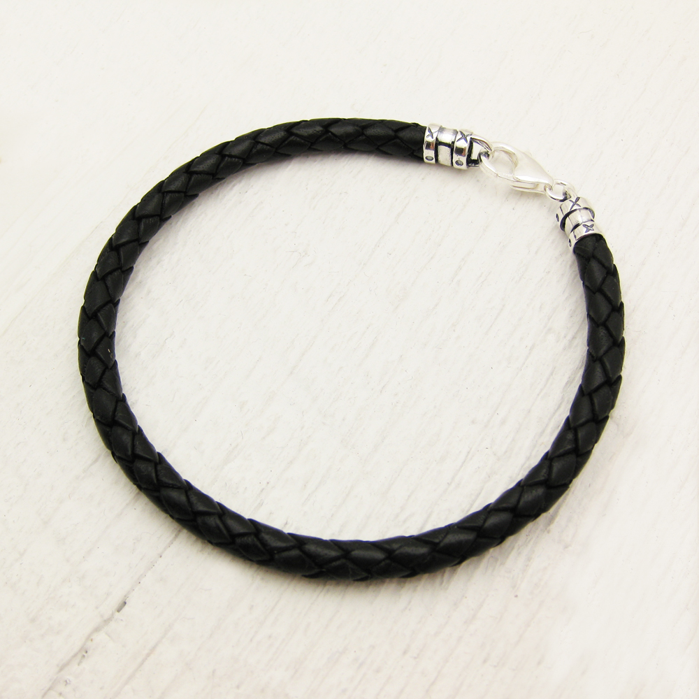 Black Eco Friendly Leather Braided Bolo Braclet