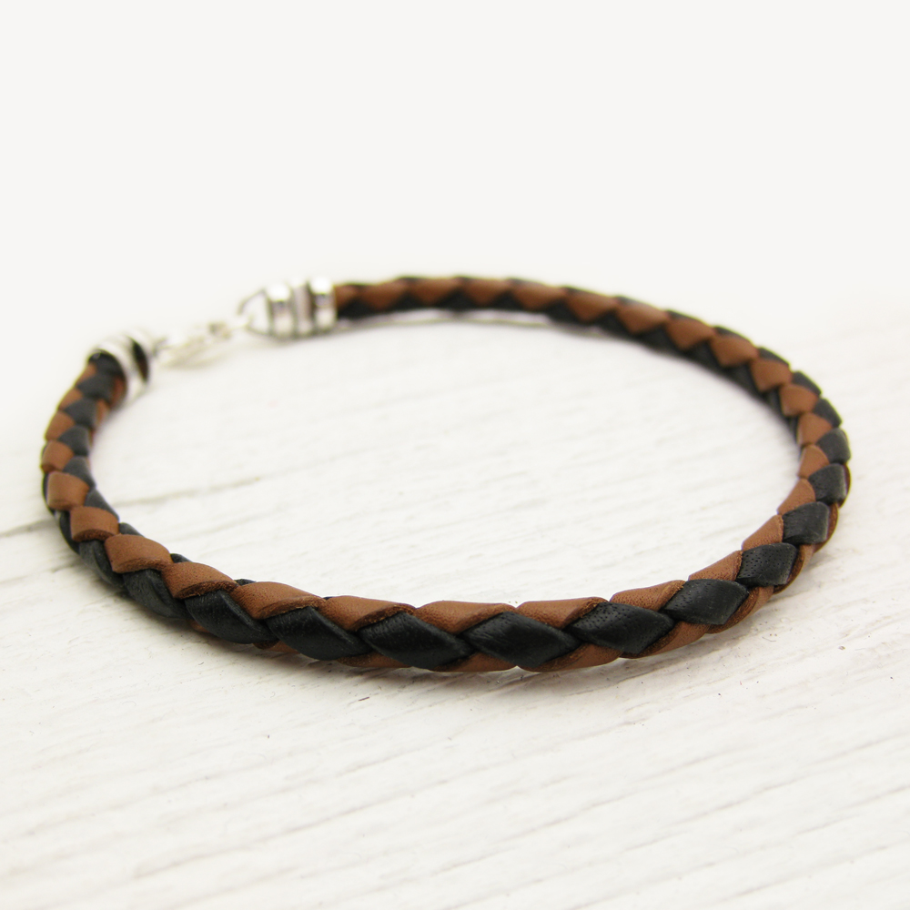 Black & Brown Eco Friendly Leather Bolo Bracelet