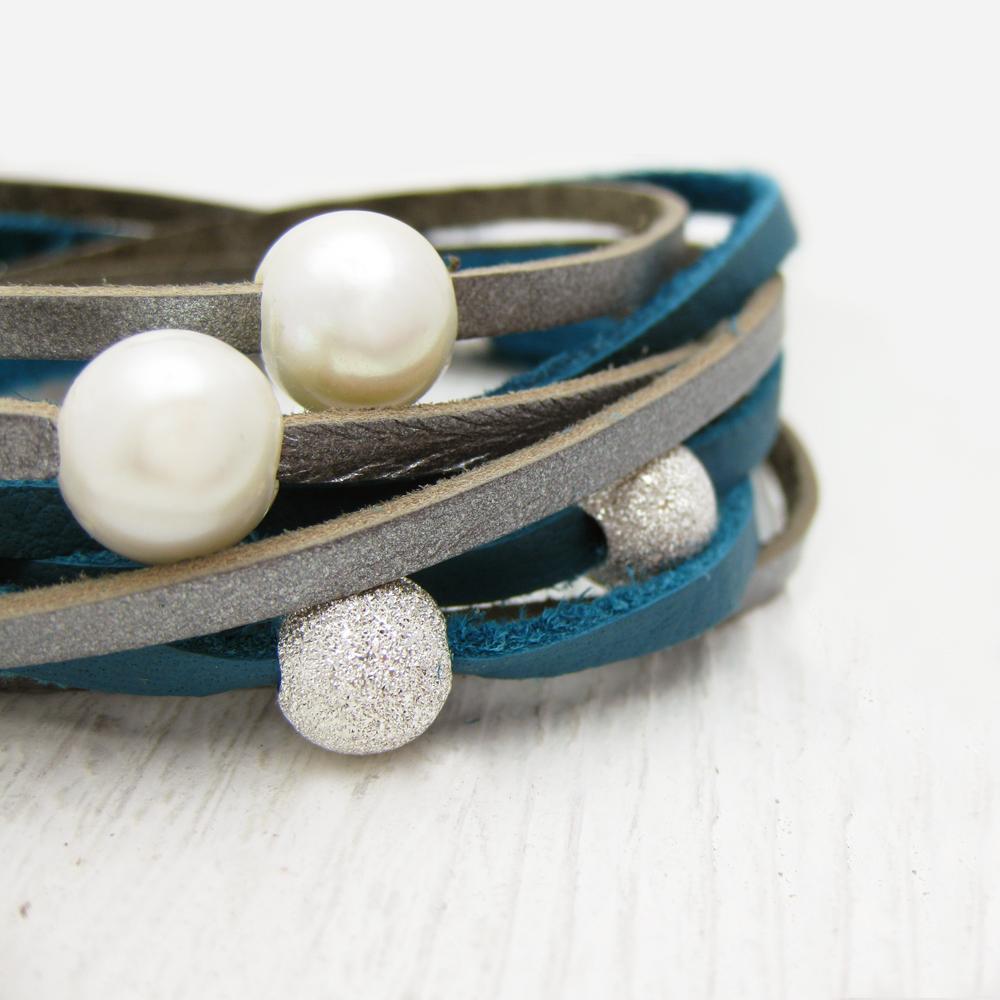 Blue Silver Pearl & Sterling Leather Wrap Bracelet