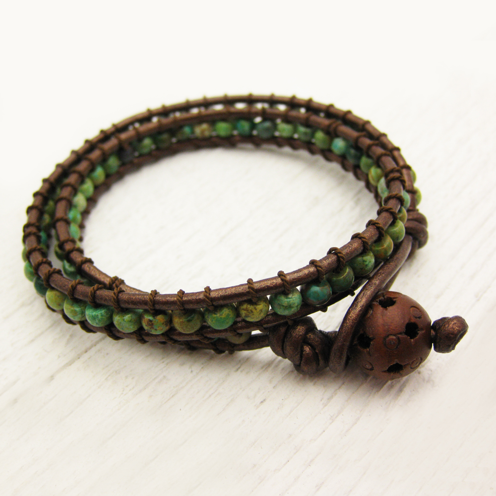 Natural Green Turquoise Wrap Bracelet