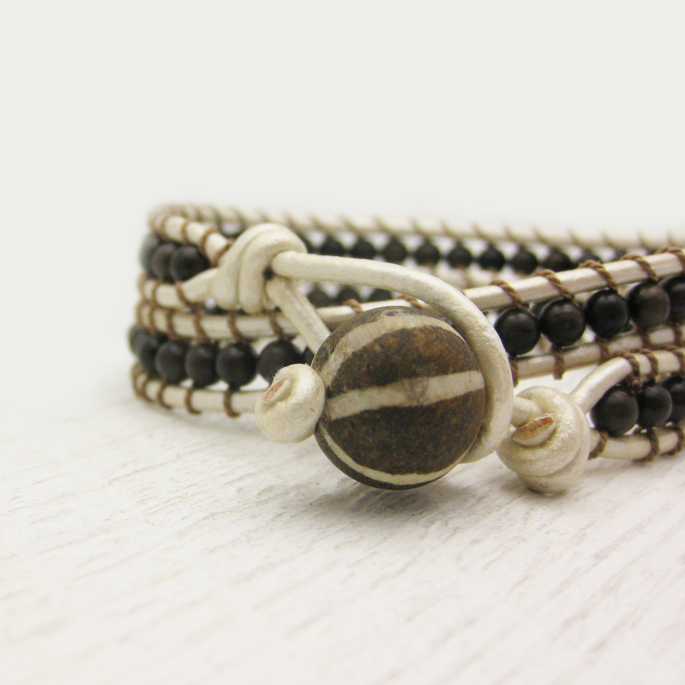 Pearl Leather Bronzite Wrap Bracelet