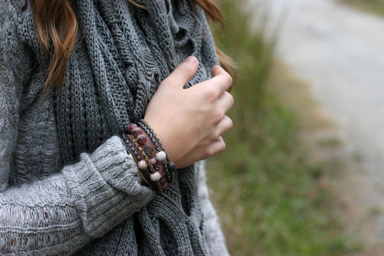 Silver Pave Blue Leather Bracelet