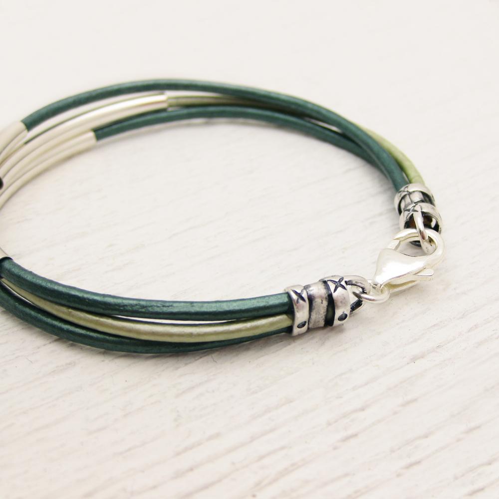Aqua Teal Leather Bangle Bracelet