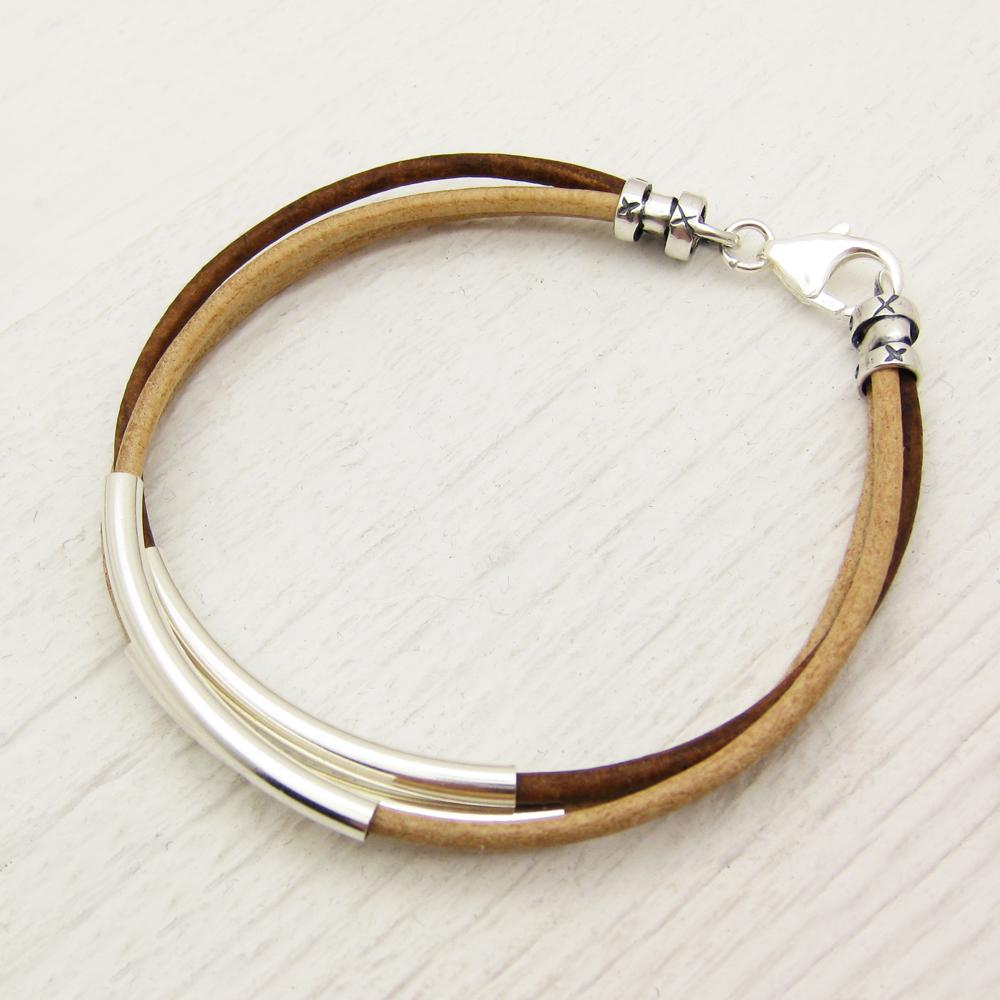 Natural Leather & Silver Bangle Bracelet