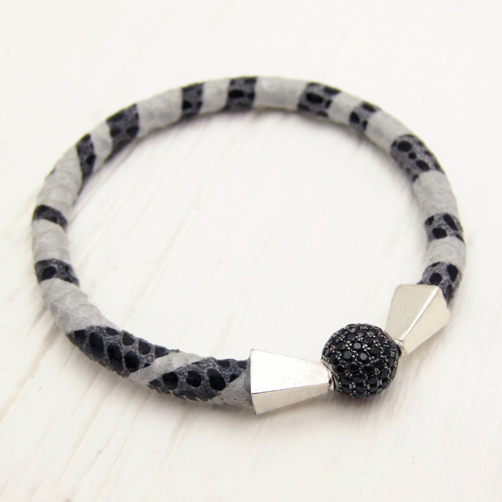 Zebra Leather Pave Bangle Bracelet