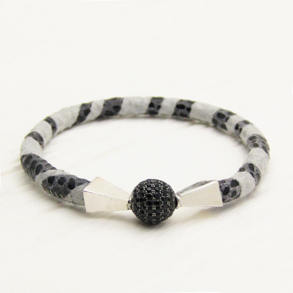 Zebra Leather Pave Bangle Bracelet