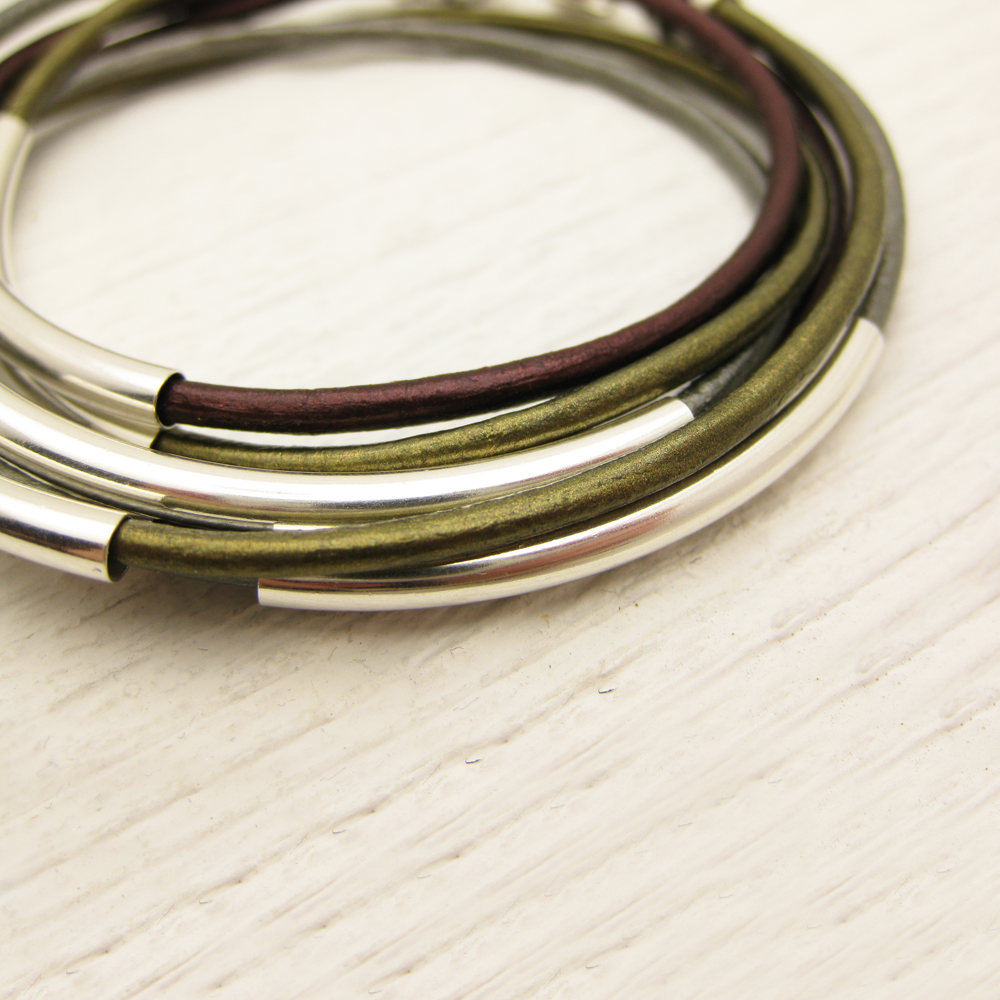 Metallic Leather Wrap Bracelet with Sterling Silver