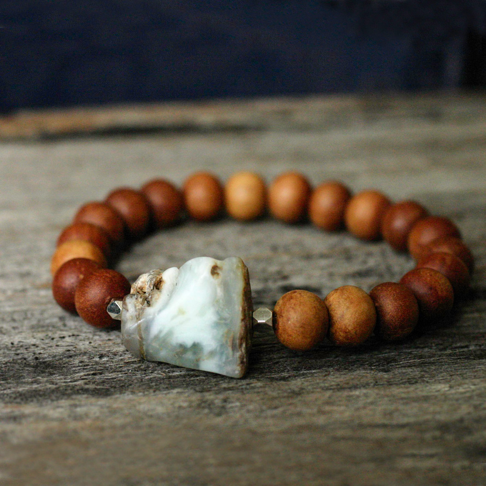 Sandalwood Raw Peruvian Opal Bracelet in Sterling Silver