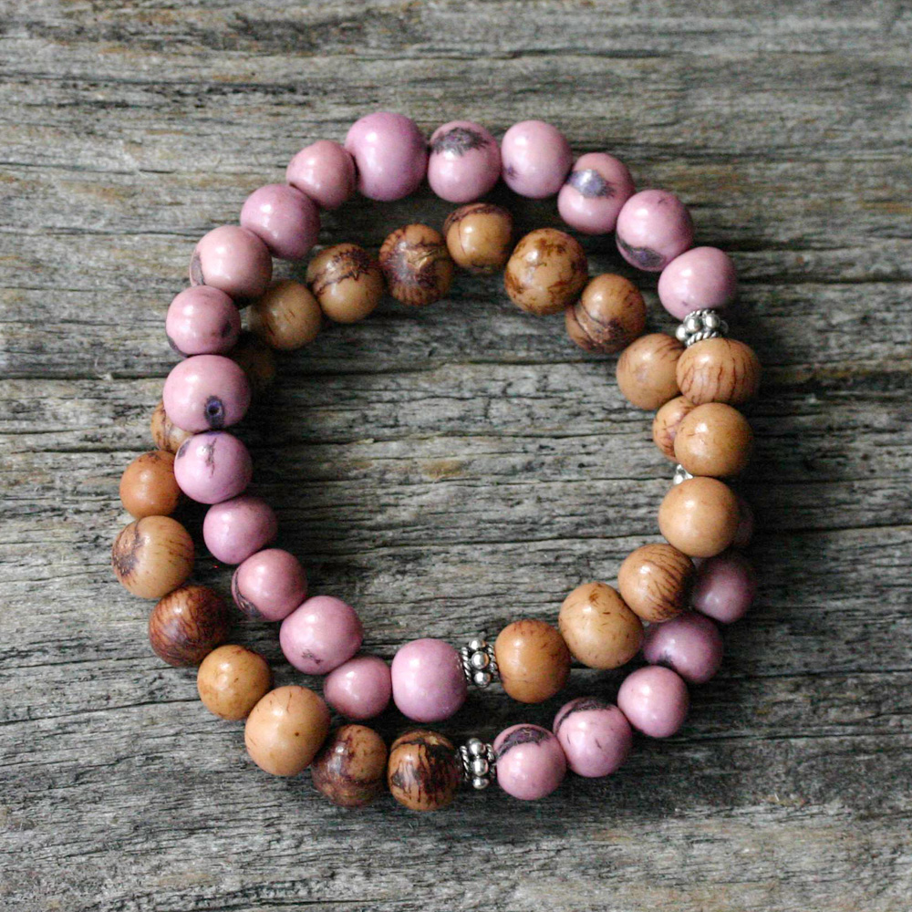 Pink & Chocolate Bohemian Acai Bracelet in Bali Sterling Silver