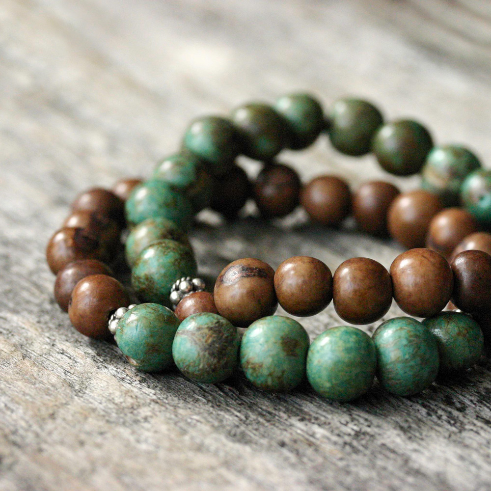 Turquoise Chocolate Seed Bracelet, Acai Sterling Silver