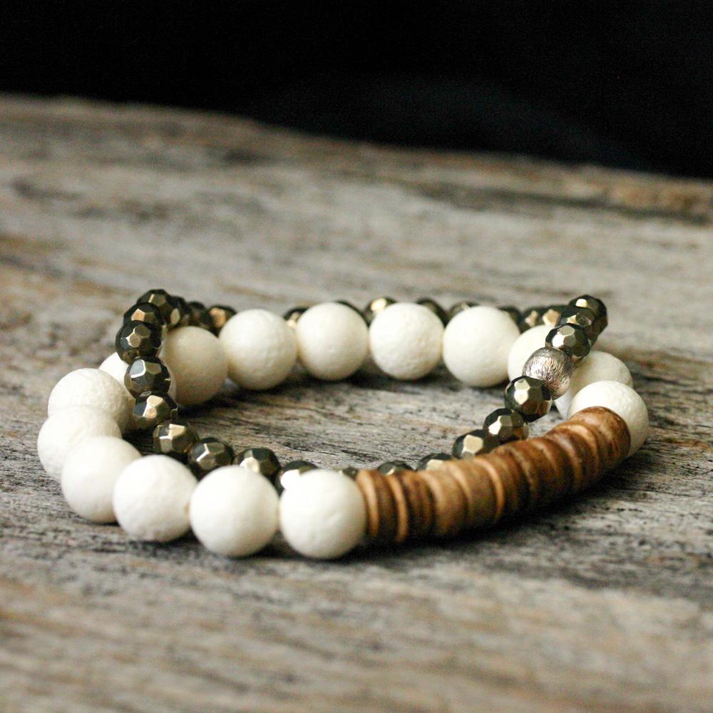 Coral Coconut Stacking Bracelet