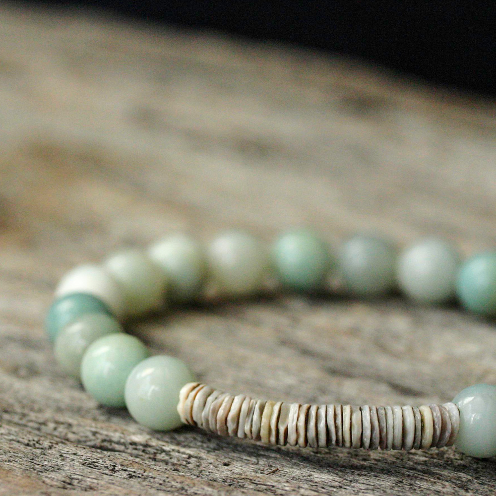 Blue Amazonite Shell Stacking Bracelet