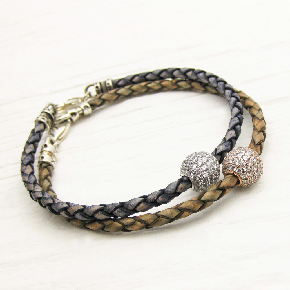 Gold Pave with Olive Leather Bangle Bracelet
