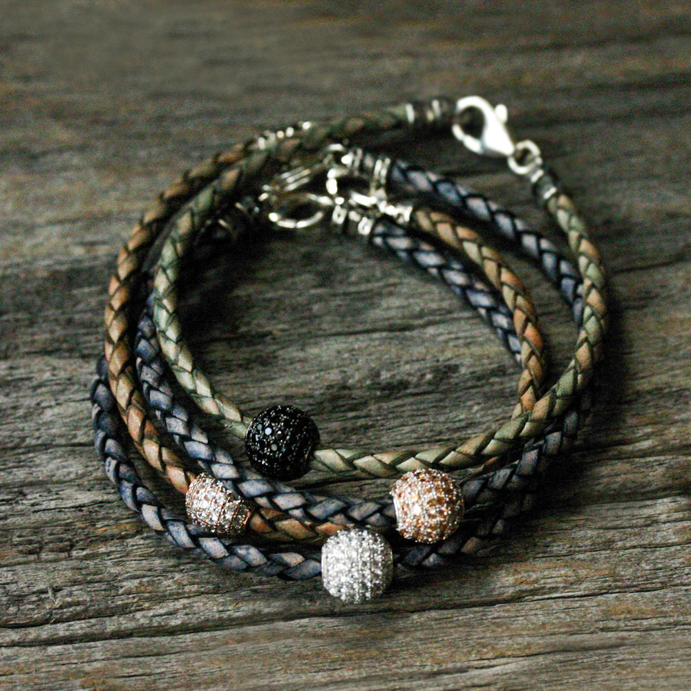 Gold Pave with Olive Leather Bangle Bracelet